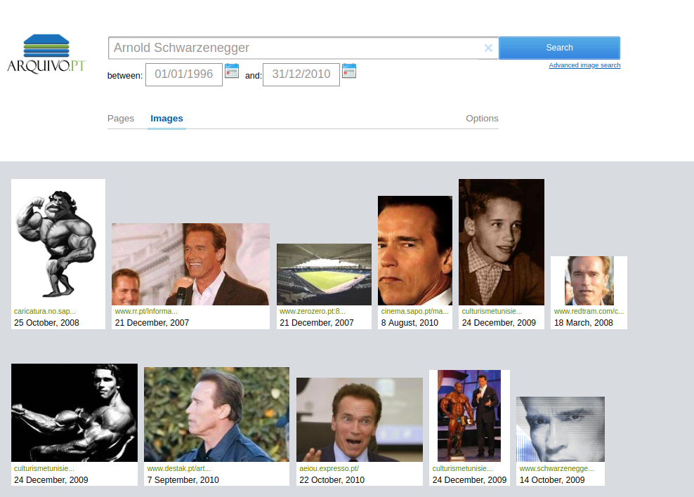 aArnold Schwarzenegger arquivo.pt image search