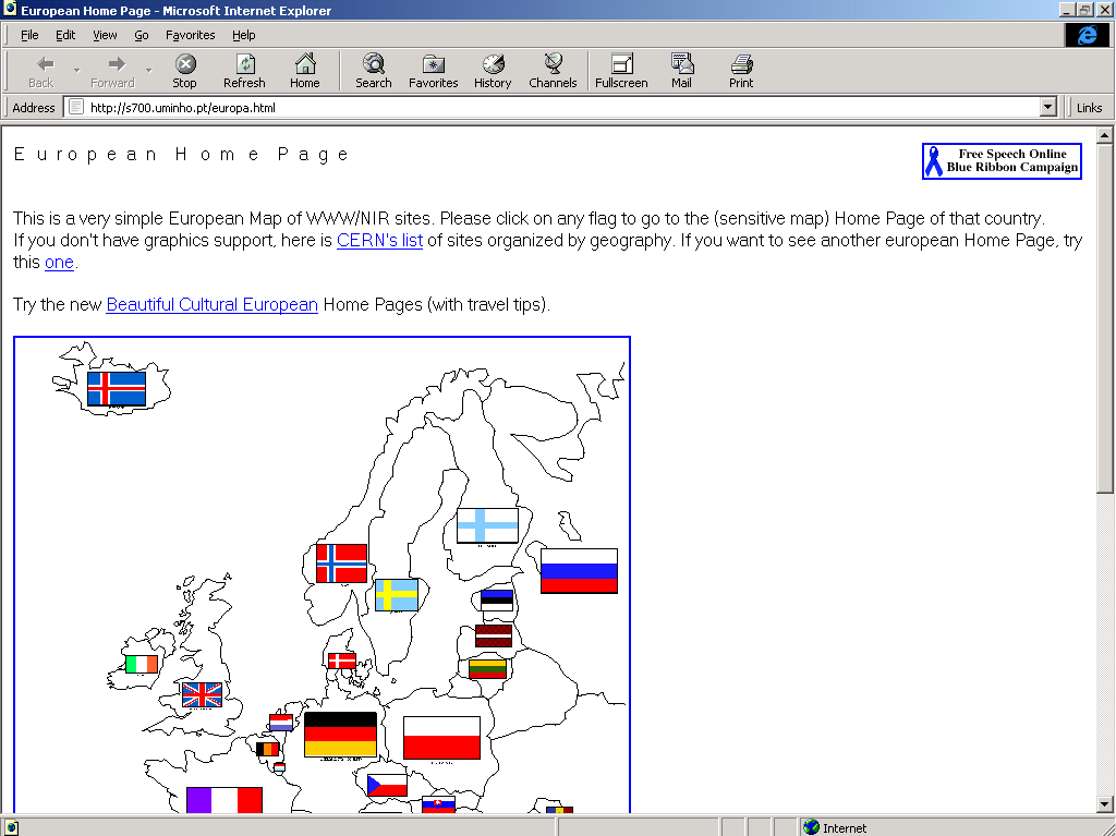 Web page of the European Union in 1996 using the Oldweb.Today service