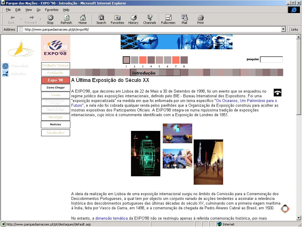 Página da Expo 98 vista no Internet Explorer através do serviço Oldweb.Today (printscreen)