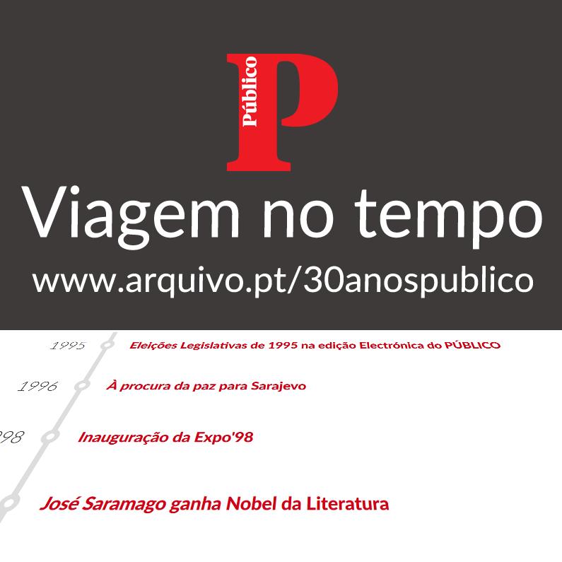 Viagem no tempo com o jornal Público (cartão quadrado)