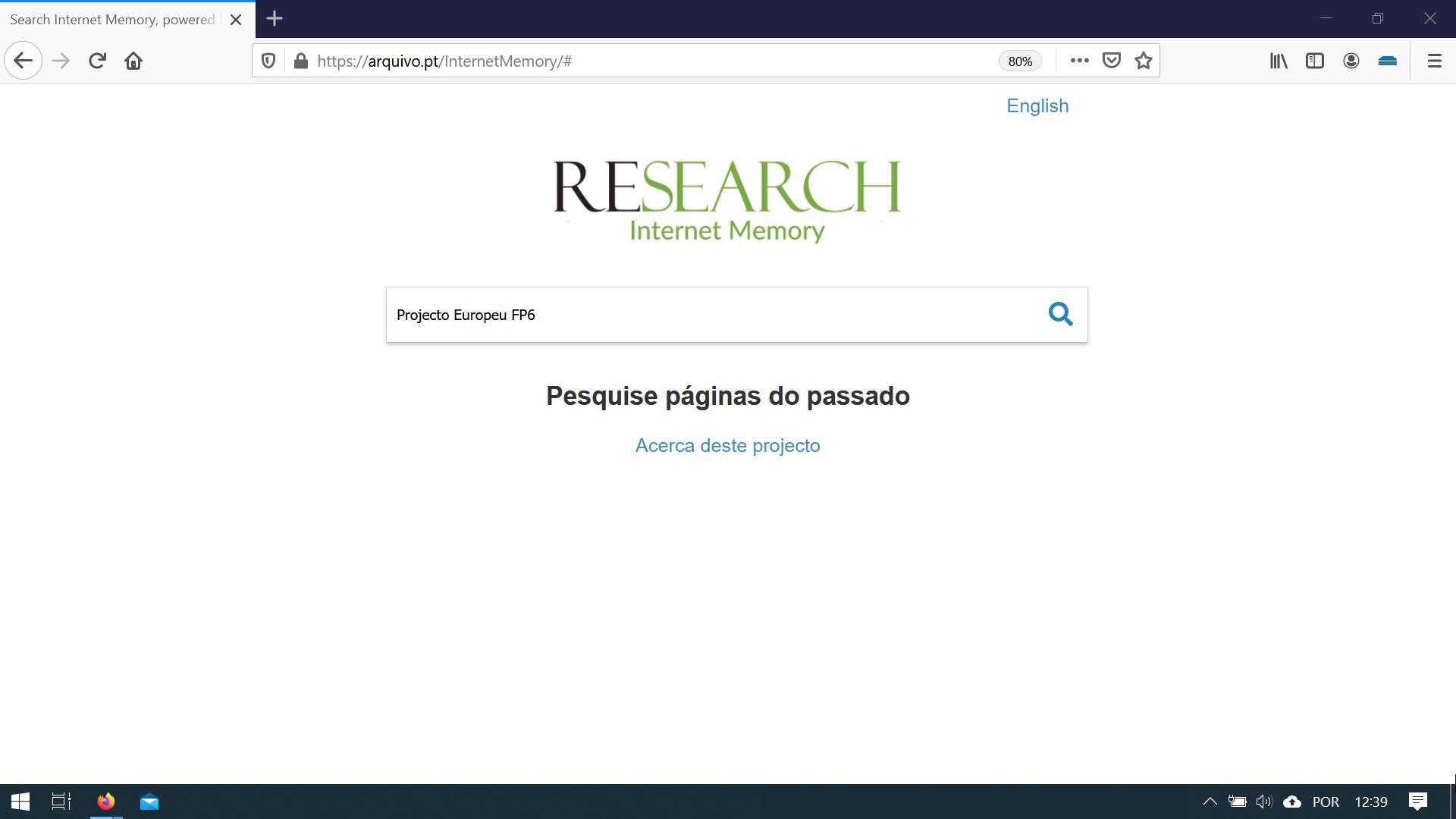 printscreen da custom-search para a coleção InternetMemory