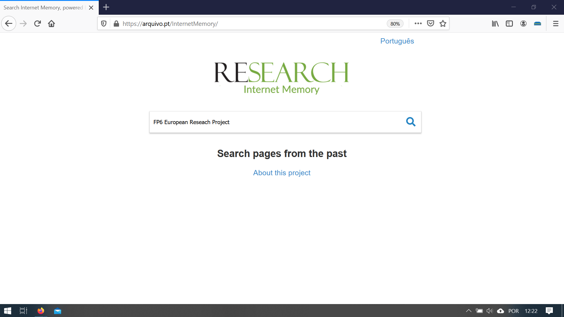 custom-search-page of Internet Memory collection