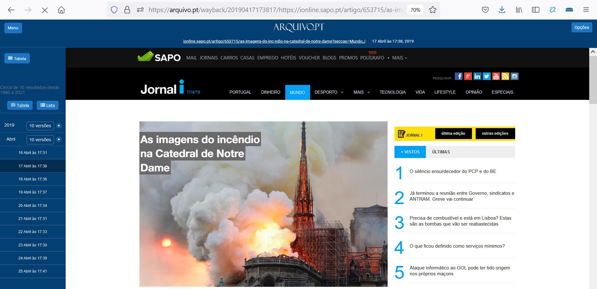 As imagens do incêndio na Catedral de Notre Dame, printscreen de página do Jornal I, 17-04-29, preservada pelo Arquivo.pt