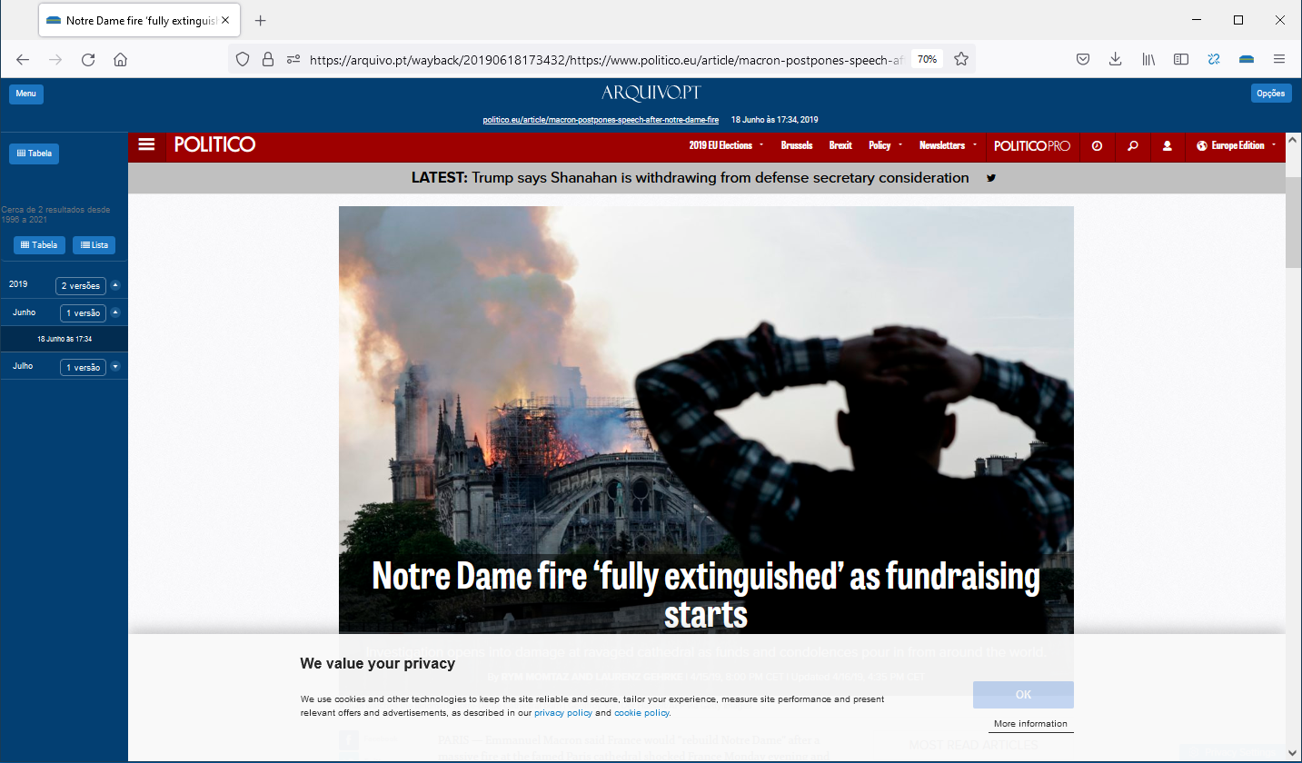"""Printed screen from www.politico.eu preserved by Arquivo.pt, collected in June 18, 2019. Article about the Notre Dame fire in Paris, """"Notre Dame fire 'fully extinguished' as fundraising starts""""."""