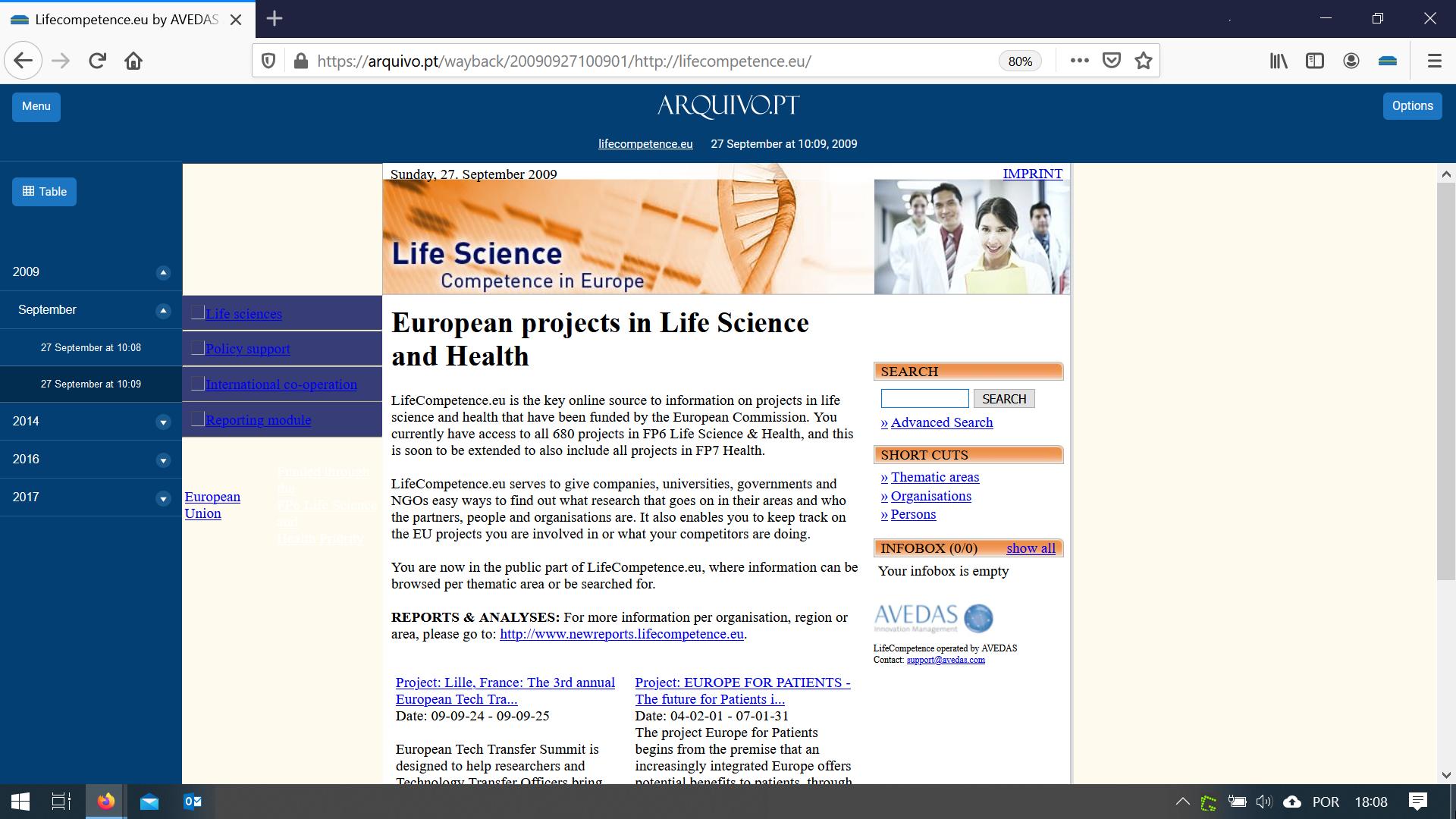 webpage liteScience printscreen