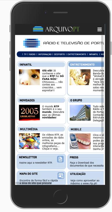 rtp.pt em 2005- versão para telemóveis