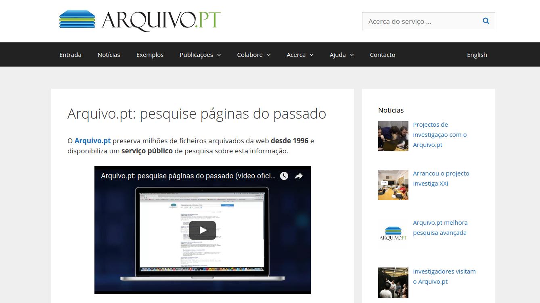 Novo site sobre.arquivo.pt