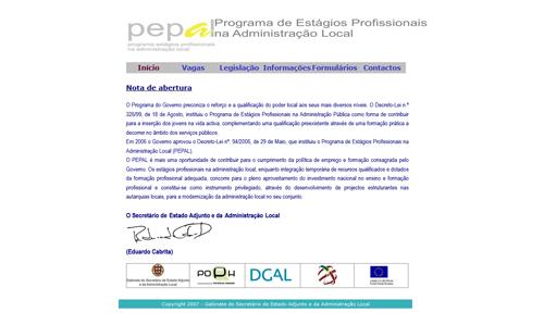 Thumbnail website PEPAL - Programa de Estágios Profissionais na Administração Local