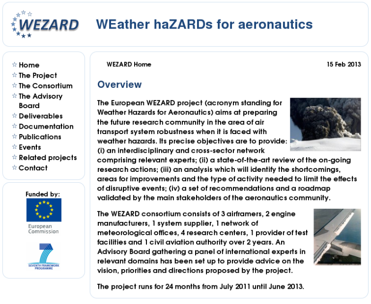 Site do projeto europeu WEZARD (www.wezard.eu), financiado pelo 7º Programa-Quadro da União Europeia entre 2011 e 2013, disponível no Arquivo.pt.
